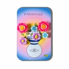 3 Pairs of Fimo Flower Earrings Presented on Flower Vase Story Card by Joe Cool