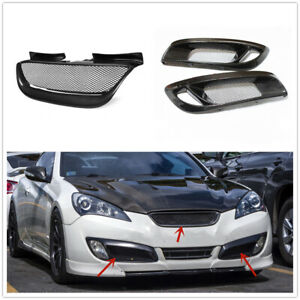 Front Mesh Grille Grill+Fog Light Cover Trim For Hyundai Genesis Coupe 2008-2012