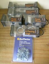 JOHN LEWIS BLACK 19MM 2 SIDE/CENTRE BRACKETS,2 FINIALS,6 PASSING RINGS.NEW BOXED