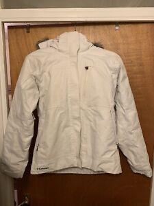 Columbia Titanium Womens Ladies White Ski Jacket XS UK8 Detachable Faux Fur Hood