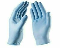BOX OF 100 DISPOSABLE GLOVES BLUE VINYL LATEX POWDER FREE 50 PAIRS MEDIUM SIZE M
