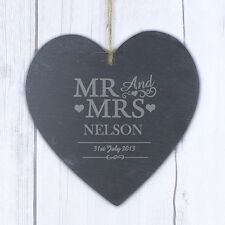 PERSONALISED Novelty SLATE HEART SIGN MR MRS Gifts for WEDDING and ANNIVERSARY