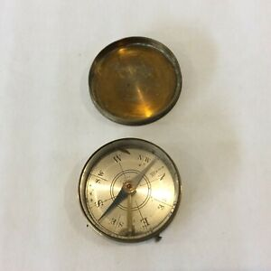 """Vintage Maritime Compass in Brass Case Nautical Made in France 1 3/4"""" Diameter"""