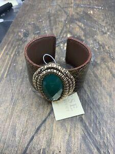 Barse Embossed Leather Cuff Bracelet- Emerald Quartz- Bronze- NWT