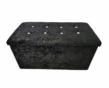 Double Crushed Velvet Diamonte Ottoman Folding Storage Box Footstool Seat Black