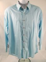 Robert Graham X Shirt Size XL Pale Blue Orange Long Sleeve Cotton Button Front