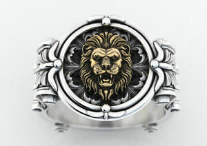 Ancient Lions Men's Engagement Ring Yellow Gold Finish In 925 Silver