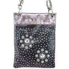 Mini Shiny Pewter Crossbody Messenger Hand Bag Purse Rhinestone Gemstone Flowers