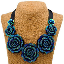 Chic Lady Rhinestone Blue Rose Camellia Resin Fake Collar Lace Clavicle Necklace