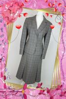 Eastex Skirt Suit 14 16 Grey Pink Check Wool Rich midi vintage BLACK FRIDAY