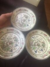 "3 X Indian Tree Pattern bowls cereal dessert 7"" 50s meakin"