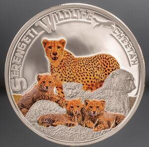Tanzania 2013 Cheetah 1000 Shillings Silver Coin,Proof