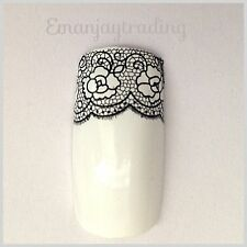 Nail Art Water Decals/Stickers/Transfers/Wraps Black Lace 4 Strips Flowers #17
