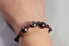 High Quality Peacock Pearls Luster Baroque Pearl Knotted Brown Leather Bracelet