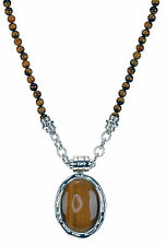 """Sterling Silver Tiger's Eyes Pendant and Beads Necklace 17"""" Long"""