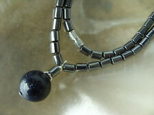 Modische 45 cm Hämatit Blutstein Hals Kette mit 13,5 mm Blaufluss Stein Kugel