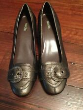 NICOLE Laredo Womens Shoes Kitten Heels Pumps Buckle Distressed Bronze 9 1/2 NEW