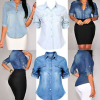 US Retro Women Blue Jean Fitted Soft Denim Long Sleeve Shirt Tops Blouse Jacket