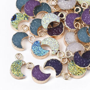 50x Druzy Resin Moon Pendants Light Gold Plated Iron Loops Mixed Color 14~15mm