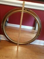 "Large Elegant Antique/Vtg 32"" Gold Gilt Ornate Carved Round Wall Mirror"