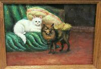 SCOTT CAT AND DOG SMALL OIL ON BOARD PAINTING SIGNED