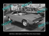 OLD POSTCARD SIZE PHOTO OF ALFA ROMEO ALFETTA SPIDER 1973 MOTOR SHOW DISPLAY