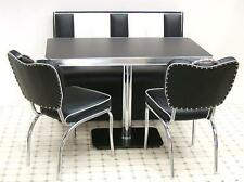 Retro Furniture 50s American Diner Kitchen Half Booth Bench Seating Set Black 26