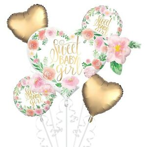 5 Piece Sweet Baby Girl Balloon Foil Mylar Bouquet Party Supplies