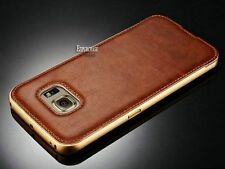 Luxury Leather Back Case Aluminum Metal Bumper Cover For Samsung S6 S6 Edge