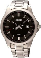 SEIKO SUR245P1 Black Dial Date All Stainless Steel WR 100m 2 Yr Guar RRP £199.