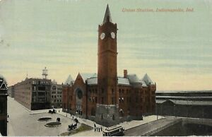 Postcard INDIANAPOLIS Indiana/IN Union Station Railroad Train Station Depot 1907