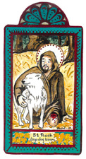 "SAINT ROCH SAINT ROCCO DOGS FALSELY ACCUSED HANDCRAFTED WOOD 6.75"" PLAQUE"