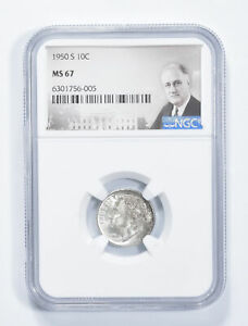 MS67 1950-S Roosevelt Dime - Graded NGC *661