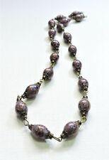 Vintage Purple Splatter Glass Lampwork Art Glass Bead Necklace FE20BN15