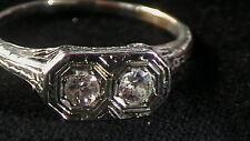 ANTIQUE 18K WHITE  GOLD FILIGREE 2 DIAMOND .50 CTTW RING