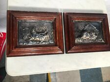 Pair Of Sterling Over Bronze Dog And Fox 3D Pictures