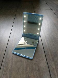 3 X  Blue Womens Pocket FoldableLED Light Makeup Mirror Handbag Cosmetic