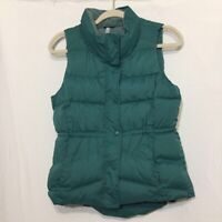 Old Navy Womens Puffer Vest Jacket Green Buttons Pocket Mock Neck Fleece Lined M