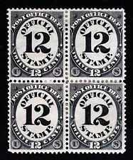 US O52 12c Post Office Department Mint Block of 4 VF OG H w/ PSAG Cert SCV $575