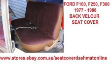 PLAIN BLACK VELOUR SEAT COVER FIT FORD F100,F250,F350 1977 - 1988, 3 SEATER