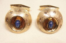 GREAT Fanciful 14k Gold Moon & Stars Cufflinks with Star Sapphires & Diamonds
