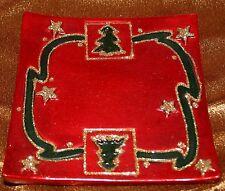 Weihnachten Dekoration Teller 11 cm x 11 cm  rot Weihnachtsmotive schwarz goldf