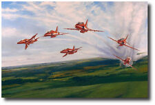 Red Arrows by Robert Taylor - Hawk - Signed by Squardon Leader Brian Hoskins