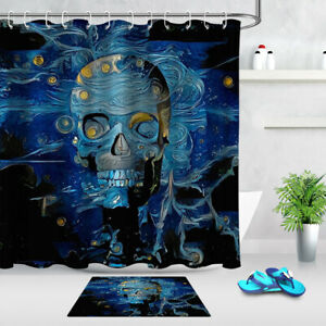 Digital Painting Horror Halloween Skull Fabric Shower Curtain Set Bathroom Decor
