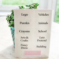 Re-usable Clear Organisation Storage Labels - playroom nursery - white font