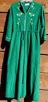 VTG Vassarette Zip Front Green Warm Long Maxi Bath Robe Housecoat M/L USA #D-26