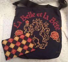 Beauty & The Beast La Belle et La Bete Crest Tote Zip Pouch Black Disney