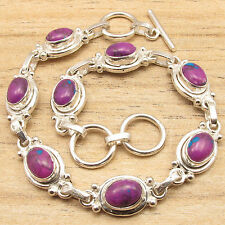 Purple Copper Turquoise Gems Artisan Bracelet Jaipur Jewelry ! 925 Silver Plated