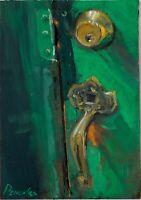Green Doors and bronze locker  Still Life Oil Painting 15x20cm