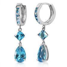 5.62 Carat 14K Solid White Gold Glint In Your Eyes Blue Topaz Earrings